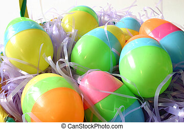 Easter Eggs on purple straw
