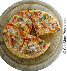 veggie pizza 2 - Individual Roated Veggie Pizza on wood...