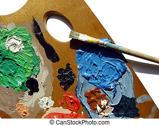 painters palette - palette with brush