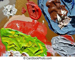 painters palette - closeup of a palette