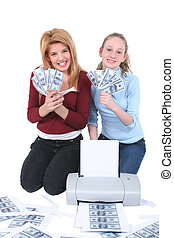 Counterfeiting Teens - Two teen girls trying to get rich...