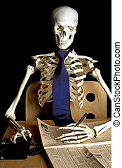 Death from Overwork - A skeleton sits at a desk, with a...