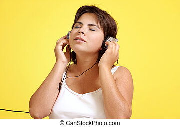 Chill - Woman absorbed with the music