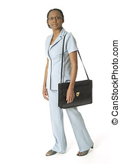 Briefcase woman - Woman with a smile walking with a...