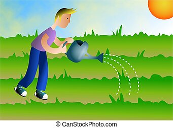 Watering the Earth - Boy watering the plants.