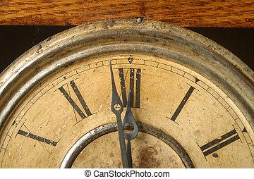 antique clock - An antique clock an twelve o'clock.