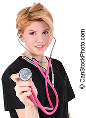Candy Striper AKA Hospital Voluteer Help - Beautiful teen...