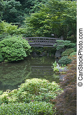 Foot Bridge - Footbridge over a pond at the Japanese Gardens...