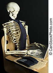 Skeleton at Work 11 - A skeleton sits at a desk with a...