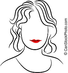Line Lady - simple line drawing of a womans head.