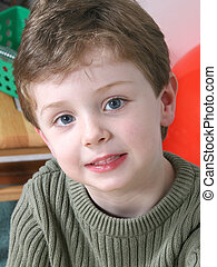 Boy Child Preschool - Four year old boy with big blue eyes....