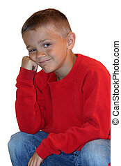 Waiting Boy - Young boy sitting and resting his head on his...