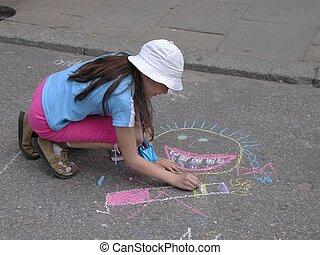 Girl Drawing - Girl drawing on asphalt