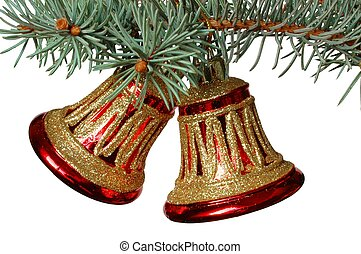 Bells - Christmas decoration on white background