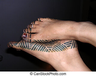 Gambian foot art - Taken in Gambia, showing traditional foot...