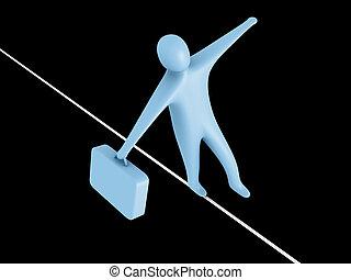 Balance - 3d person walking on a rope holding a briefcase.