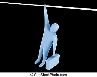 Hold on - 3d person hanging from a rope holding a briefcase...
