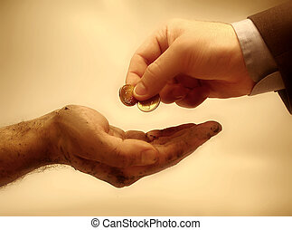 Charity - Wealthy person giving money to a poor one hands