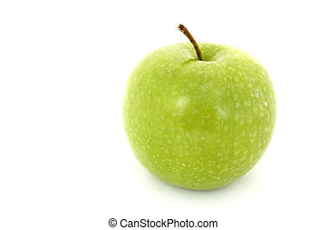 Green Apple 2 - A green apple on an isolated white...