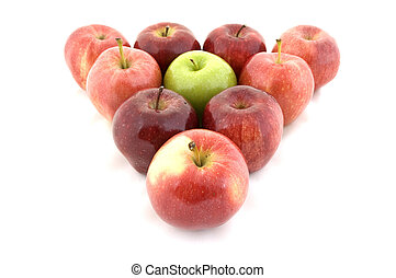 Odd One Out - A green apple is the odd one out in a triangle...
