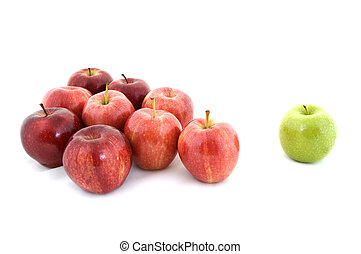 Bullying - A green apple is excluded from the gang