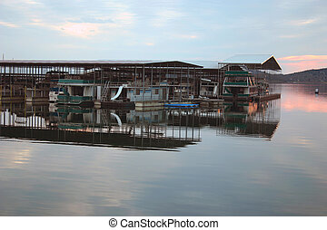 Boat dock - An interesting image of a boat dock as the sun...