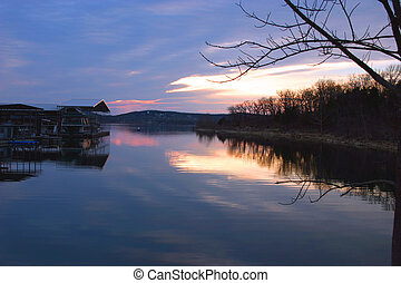 Boat dock sunset - A boat dock on Table Rock Lake, Branson...