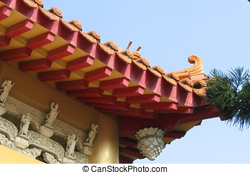 Chinese roof - A Chinese roof with stone carvings