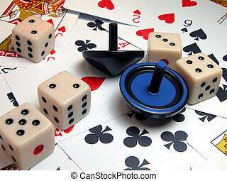 Gambling - cards tops and dice...casino atmosphere...