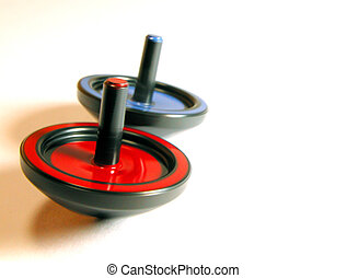 Spin Tops - two spin tops in action: