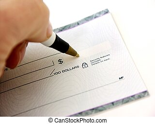 how much - hand writing a check,shallow dof