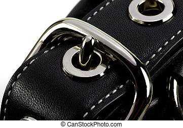 Leather Strap - Black Leather Pocketbook Strap with Chrome...