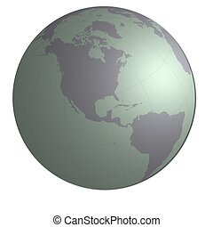Globe showing Americ - 3d globe on white background with...