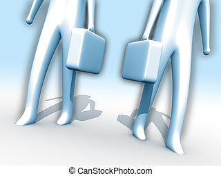 Work time - 3d people holding briefcases.