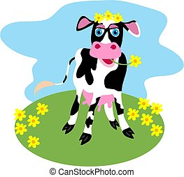 Dairy Cow - cute cow grazing in a field of flowers