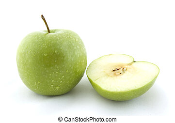 Green Apples - A green apple with half a green apple