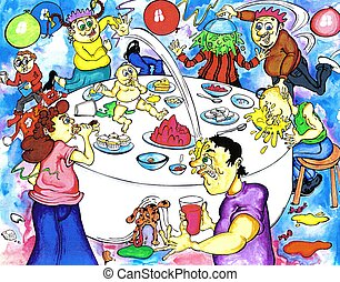 Birthday Party - food fight at the party - could be a...