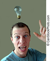 luminous - Light bulb hanging over mans head