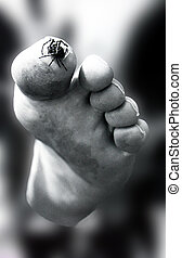 tiptoeing - spider walking on toe.