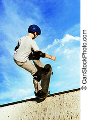 On the edge - Boy skateboarding