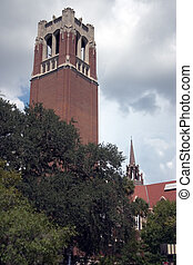 Bell Tower at UF - Bell tower and University auditorium at...