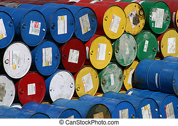 Barrel storage 2 - Rows and stacks of oil barrels in a...