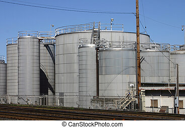 Industrial scene - Large tanks in an industrial area.