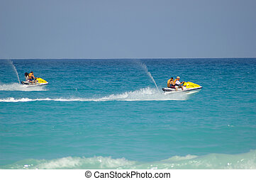 Fast Jetskis - Couple of fast jetskis in the coasts of...