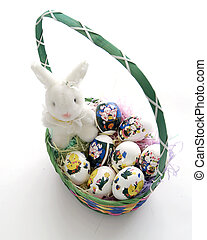 Ester Bunny Basket - Easter Basket with white bunny and...