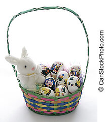 Easter Basket and eggs - Easter Basket with a handle eggs...