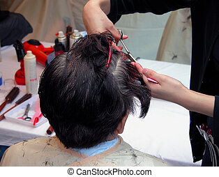 Hairdresser - two hands cutting hair in an old women had