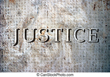 Justice - The word justice on a marble plaque with ancient...