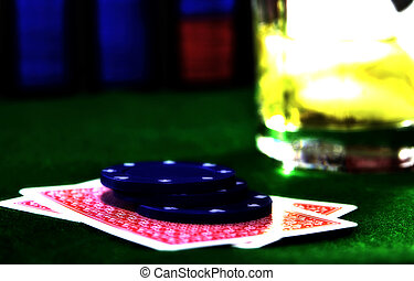 Card Game 8 - Cards, Chips and a Drink With Bleached Look.
