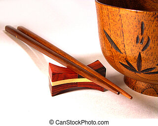 Chopsticks And Bowl - chopsticks and wooden bowl-Japanese...